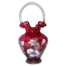 "Fenton -The Glass Legacy - Cranberry Basket w/Ruffle Edge - 95th Anniv - 10 1/4"" Tall"