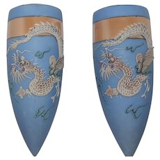 Pair of Moriage 1930's Hand Painted Japan- Dragon Wall Pockets w/Cherry Blossom Stamp