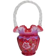 """Fenton Inspired by """"Open Heart Arches"""" Hand Painted Ruffle Top Basket - 9 1/4"""" Tall"""
