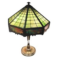 1908 Bradley & Hubbard Stained Glass (3)Bulb Table Lamp