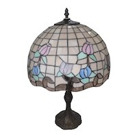 "Early 1950's Stain Glass Leaded Table Lamp w/Floral Design - 23"" Tall"
