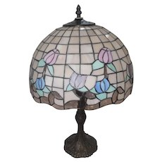 """Early 1950's Stain Glass Leaded Table Lamp w/Floral Design - 23"""" Tall"""