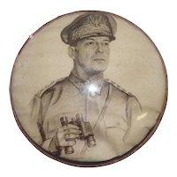 MacArthur U.S. 4-Star General Print Under Round Glass - Carl Bohnen 1942