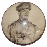 MacArthur U.S. 4-Star General Print Under Round Glass - Carl Bohnen 1942