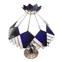 "Stunning - Art Deco Stain Glass & Prism Glass Lamp Shade & Table Lamp - 19 1/2"" Tall"