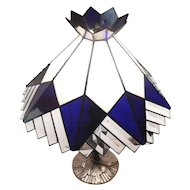 """Stunning - Art Deco Stain Glass & Prism Glass Lamp Shade & Table Lamp - 19 1/2"""" Tall"""