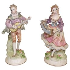 "Pair of Old Ceramic Hand Painted Figurines Feat. Girl & Boy w/Instruments - 12 1/2"" Tall"