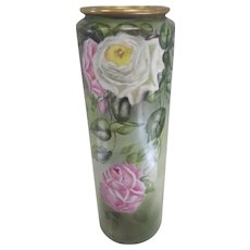 """Beautiful Early 1900's Belleek Willets Pocelain Hand Painted Floral Vase - 16"""" Tall"""