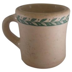 "Desert Tan ""Sterling"" Liverpool Ohio Stoneware Shaving Mug w/ Leaf Design"