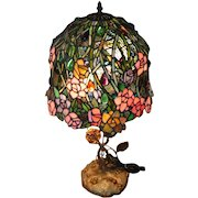 "Stunning Stain Glass Lamp Shade and Table Lamp - Feat. Flowers/Roses - 26 1/2"" Tall"