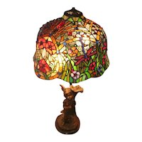 "Beautiful Stained Glass Lamp w/ Fairy & Flowers - 30"" Tall"