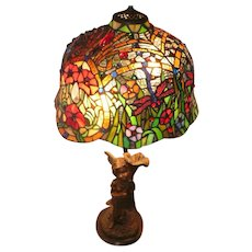 """Beautiful Stained Glass Lamp w/ Fairy & Flowers - 30"""" Tall"""