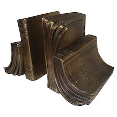Pair of PM Book Designed Brass Bookends - #17B
