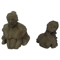 Pair of McClure Art Pottery Figurines - Women