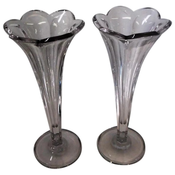 Pair Of Heisey Colonial Clear Vases 12 14 Tall Bearski Gallery