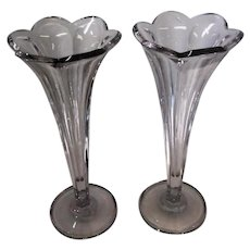 """Pair of Heisey Colonial Clear Vases - 12 1/4"""" Tall"""