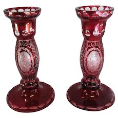 """Pair of Crystal Ruby Red Candleholders - 6 3/8"""" Tall"""