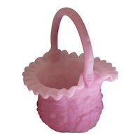"Vintage - Fenton Custard Pink Milk Glass Floral Basket - 10"" Tall"