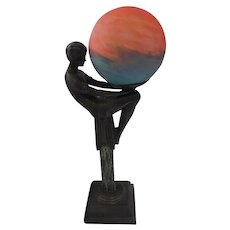 """1930's Francaise Millefiori French Art Deco Nude Spelter Statue Lamp w/Globe - 19"""" long"""