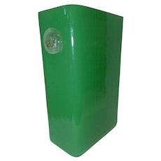 "Vintage Green Art Glass Vase w/Double Lionhead Sides - 9 1/4"" Tall"