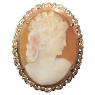 10KT Yellow Gold Art Noveau Shell Cameo Broach - 10.1 Grams