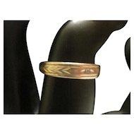 14KT Yellow Gold Wheat Motif Band Ring w/Diamond - Size 5.5