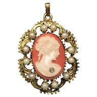 "Pierced Pearl/Diamond Shell Cameo Pendant - 1 7/8"" x 1 5/16"""