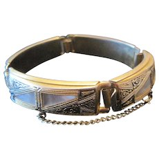 Costume - Mother of Pearl Inlaid Bracelet - Push Clasp