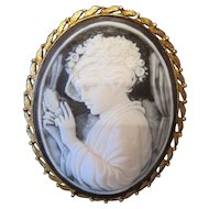 "1930's Gold Gilt Cameo Broach Pin - 2 1/8"" x 1 3/4"""