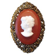 "Western Germany - Pierced Back/Edges Cameo Broach Pin - 1 1/2"" x 1"""