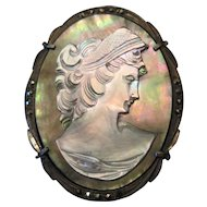 "Silver 800 Mother of Pearl Cameo Broach Pin/Pendant w/Metal Stones - 1 5/8"" x 1 1/4"""