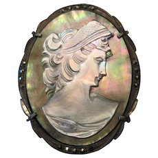 """Silver 800 Mother of Pearl Cameo Broach Pin/Pendant w/Metal Stones - 1 5/8"""" x 1 1/4"""""""