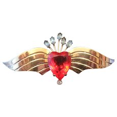 Sterling Coro Broach Pin w/Gold Plate Wings & Heart Stone/Accent Stones