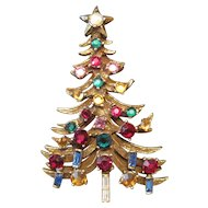 "Rhinestone (29) Jeweled Gold Plated Christmas Tree Broach Pin - 2 1/2"" x 1 1/2"""