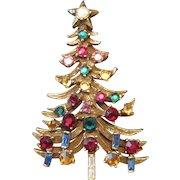 "Rhinestone (29) Jeweled Gold Plated Christmas Tree Broach Pin - 2 1/2"" x 1 1/2"""