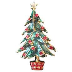 "Enameled Rhinestone Christmas Tree Broach Pin - 2 1/8"" x 1 1/4"""