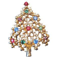 "Eisenberg Ice Rhinestone Jeweled Gold Plated Christmas Tree Broach Pin - 2"" x 1 1/2"""