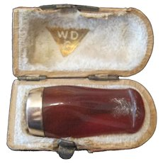 WDC Brown Bakelite Smoking Pipe Stem Mouth Piece w/14K Gold Band