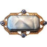 """Art Noveau Late 19th Century Copper & Blue Rhinestone Pin Broach - 2"""" x 1 1/8"""""""
