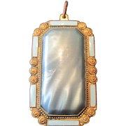 "Art Noveau Late 19th Century Copper & Blue Inlaid Enamel Broach Pin - 1 3/4"" x 1"""