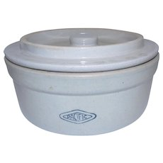 Pacific #2 Cheese/Butter Stoneware Crock w/ Lid - 9 3/4""