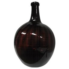 """Amethyst Ribbed Hand Blown Glass Vase - 13 3/4"""" Tall"""