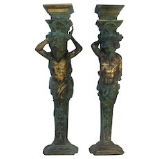 "Pair of Very Old Bronze Column Statues - 55"" Tall"