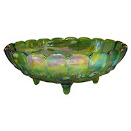 "Lime Green Carnival Glass Footed Grape Vine Bowl Compote - 12 1/4"" long"