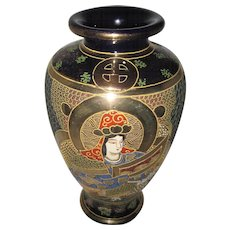 "Moriage Satsuma Japan Gold Gilt Vase w/Cobalt Blue - Hand Painted Emperor/Wife & Dragon - 9"" Tall"