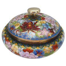 "Japanese Cloisonne Enameled Hand Painted Floral Dish w/Lid - 4"" Tall x 5 5/8"" Dia"