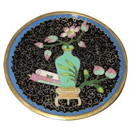 "Japanese Cloisonne Enameled Hand Painted Small Plate - 4 1/8"" Diameter"