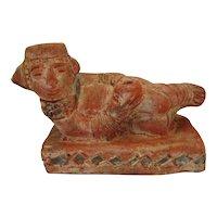 """Columbian Pottery God Figure w/Diamond Pattern Base - 5"""" Tall"""