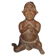 "Columbian Pottery Tribal Man on One Knee - 7 3/4"" Tall"