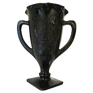 "Black Amethyst Two Handled Vase - L.E. Smith C.1930's ""Dance of the Nudes"" - 7 1/4"" Tall"